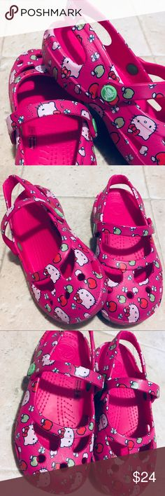 10 T   Hello Kitty Crocs * Condition: Great   The pictures show any imperfections - nothing major / They actually can like this...worn once * Size: 10 Toddler  * Brand: Crocs * Color: Pink, Red, Green, Black, & White  * Offers?? Yes If Reasonable CROCS Shoes Sandals & Flip Flops