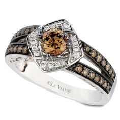 Le Vian 14K  Yellow Gold  .85 Carat Chocolate and Vanilla Diamond Ring #diamondring #chocolatediamond #levian