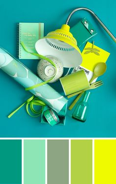 Color combination in blue, green and yellow by 101 Woonideeen. Wederom dat donker turkoois nu met groenen en fel geel.