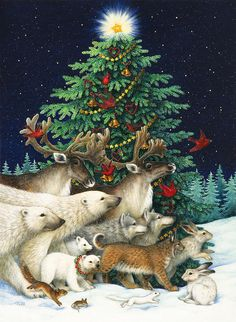 Lynn Bywaters Prints | Lynn Bywaters Northern animals by Christmas tree Xmas polar bears, caribou, lynx, arctic hare, wolves, etc.