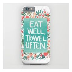 Eat Well, Travel Often Bouquet  iPhone & iPod Case ($35) ❤ liked on Polyvore featuring accessories, tech accessories и iphone & ipod cases