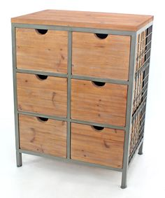 Natural Wood Industrial Six-Drawer Cabinet