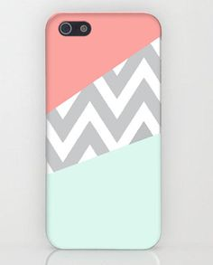 Mint & Coral Chevron iPhone Case.