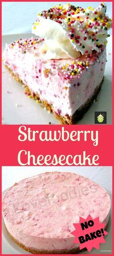 No Bake Strawberry Cheesecake -A lovely dessert and always popular any time of year! #dessert #chilled #easyrecipe