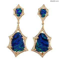 Solid 18k Yellow Gold Opal Gemstone Dangle Earrings Pave Natural Diamond Jewelry #Handmade #dangle