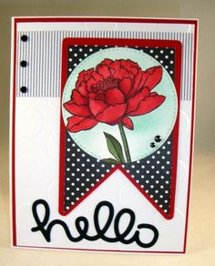 handcrafted greeting card: A tag hello by YLM ... You've Got This ...black and white with red ... beautiful! ... Stampin' Up!