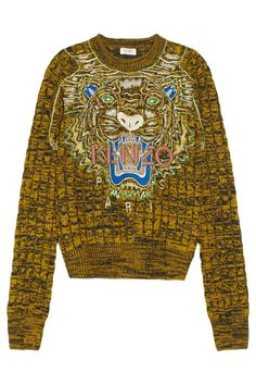 KENZO|Tiger-embroidered cable-knit wool sweater|NET-A-PORTER.COM