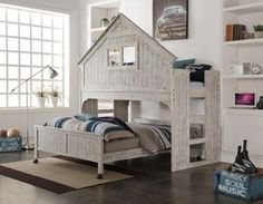 This is such a cool kid's bed! Would love to find plans to build something like this. Donco Kids Brushed Driftwood Finish Club House Low Loft with Full-Size Caster Bed Low Loft Beds, Full Bunk Beds, Bunk Beds With Stairs, Kids Bunk Beds, Full Bed, Kids Furniture, Bedroom Furniture, Furniture Outlet, Online Furniture