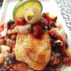 Chili Lime Talapia on a bed of Scotchi Bean Salad | Photo & Food by NZINGHA for ZLounge: Nouvelle Caribbean Cuisine