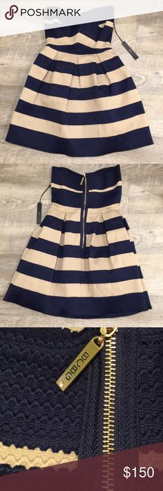 BCBG BCBG MaxAzaria dress. Navy blue and cream. No longer available. Polyester. Fitted on top. BCBGMaxAzria Dresses Strapless