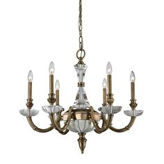 6Light Brass And Crystal Chandelier Without Shade