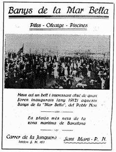 """Anunci l'any 1925 a la revista Poble Nou, on es promocionava la Mar Bella com """"la platja més neta de Barcelona"""". Document Barcelona - Un blog sobre la història recent de la ciutat"""