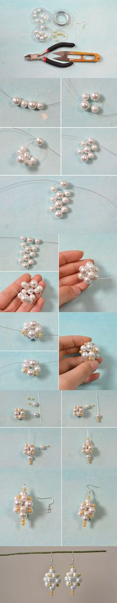 How to Make a Pair of Pearl Ball Drop Earrings for Brides: Wire Jewelry, Jewelry Crafts, Beaded Jewelry, Handmade Jewelry, Skull Jewelry, Hippie Jewelry, Jewellery, Dangly Earrings, Diy Earrings