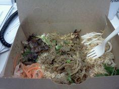 Hoison pulled pork over brown rice, courtesy of @BonMe