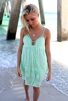 Bondi Beach Mint Lace Babydoll Sundress