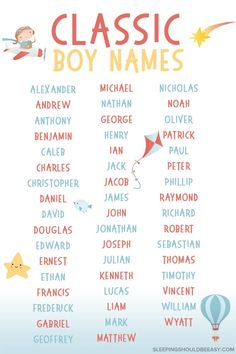 The best classic names for baby boys any mom will love! These vintage names will stand the test of time. Parenting is already hard enough as it is—mak Timeless Baby Names, Classic Baby Boy Names, Male Baby Names, Classic Names, Unique Baby Names, Cool Boy Names, Cute Names, Baby Girl Names, Baby Boys