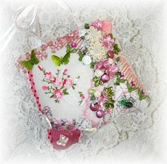 Pink Crazy Quilt Pillow with Basket...By:Kitty And Me