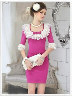 Morpheus Boutique  - Hot Pink Lace 3/4 Sleeve Bow Pleated Trendy Hemline Dress (http://www.morpheusboutique.com/products/hot-pink-lace-3-4-sleeve-bow-pleated-trendy-hemline-dress.html)