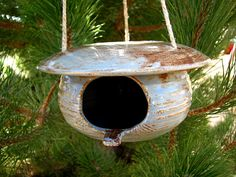 Pottery Birdhouse  Rustic Blue  Country Style by DirtKickerPottery,