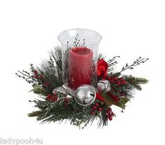 "Jingle Bell Centerpiece w 8"" Hurricane Flameless Christmas Candle Holder New | eBay"