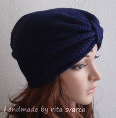 Navy Blue Knitted Turban Hat Knitted Fashion by margarita779