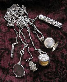 """Antique sterling chatelaine - quite the """"Status"""" item at the time."""