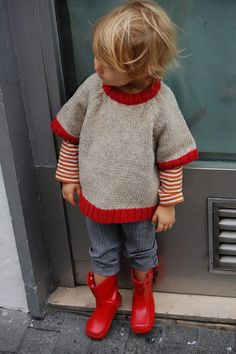 babaà - gray sweater with red trim at neck, sleeve, and bottom borders, red and white stripe tee, blue pants, red rain boots, charming!