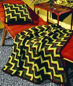 Jacob's Ladder Afghan crochet pattern from Afghans & Matching Pillows, originally published by Coats & Clark, Book 505, in 1954.