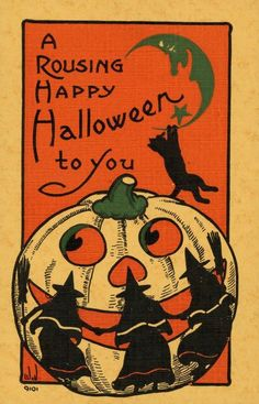 Vintage Halloween Card Postcard Image with a giant jack o'lantern, witches, and a black cat. Retro Halloween, Spooky Halloween, Vintage Halloween Images, Vintage Halloween Decorations, Halloween Pictures, Vintage Holiday, Holidays Halloween, Happy Halloween, Halloween Prints