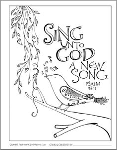 ZenspirationsR By Joanne Fink Sing Unto God Coloring SheetsAdult