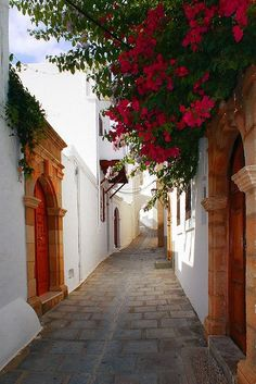 Street of Lindos, a town on the Island of Rhodes, Dodecanese Islands, Greece