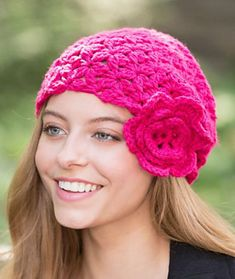 This very wearable crochet hat style will lift your spirits. It does not take long to make, so it's the perfect charity hat.