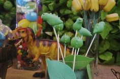 Adorable cake pops at a Dinosaurs Birthday Party!  See more party ideas at CatchMyParty.com!