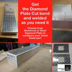 #Aluminum #Diamond Plate #custom Cut #bend and welded to your specs. Build the sheet #metal you need for your #DIY #homeimprovement #homerepair #renovation project via MetalsCut4U.com