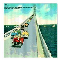 Tampa Vintage Car Postcard Shower Curtain