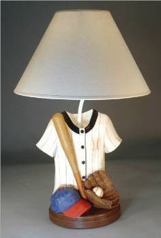 Handmade Table Lamp Sports Baseball Vintage By MostlyMadelines 6500