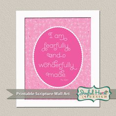 "Printable Baby Nursery Art Psalm 139 Bible Verse Wall Decor in pink & white for girls- ""I am fearfully and wonderfully made""  Scripture on Etsy, $8.00"