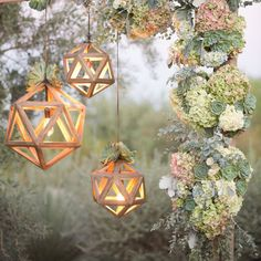 Lanterns, lights, fabric, ribbon, and even tea cups! If you're having a spring or summer outdoor wedding, decorate with these easy DIY tips!
