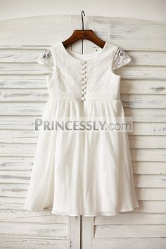 Ivory Lace Chiffon Flower Girl Dress with Cap Sleeves - Flower Girl Dresses - Wedding