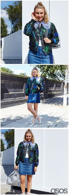 Tapping into two major AW16 trends with her look, ASOS Insider Anna has new-season daywear nailed. Layer a jacquard bomber (kudos if it carries Granny's Attic-approved pastel fur) with a deconstructed denim mini skirt and finish with heeled loafers and the cutest socks going. Women, Men and Kids Outfit Ideas on our website at 7ootd.com #ootd #7ootd