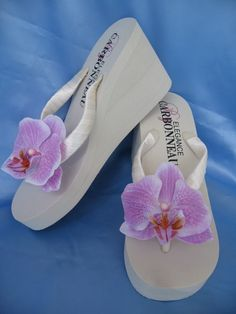 65254ee75ec111 Items similar to Ivory Flip Flop or White Flip Flops Bridal Sandals Ivory  Bridal Shoes with Purple Orchid Flower on Etsy