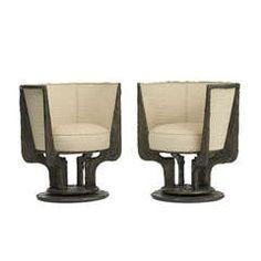 Sculpted Metal Lounge Chairs, Pair by Paul Evans for Paul Evans Studio