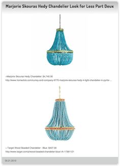 Marjorie Skouras Hedy Chandelier $4,740.00 vs  Target Wood Beaded Chandelier - Blue $407.00