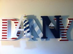 Nautical themed Wooden letters for nursery by SummerOlivias