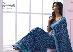 This royal & sky blue color alfino georgette material saree with blue color border.
