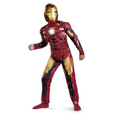 Iron Man 2 Mark 6 Light-Up Deluxe Costume, Child - - This Child Deluxe Mark VI Iron Man Costume will surely light up your son's Halloween! This Child Iron Man Costume comes with a jumpsuit with muscl Superhero Costumes Kids, Superhero Halloween, Baby Costumes, Costumes For Women, Clown Costumes, Anime Costumes, Iron Man Halloween Costume, Unique Halloween Costumes, Costume Ideas