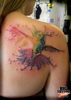 Not the hummingbird part, but the splattered watercolor idea is gorgeous.