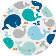 Blue Whale 9 Inch Lunch/Dinner Plates ct): One Package of 8 Blue Whale 9 Inch Lunch/Dinner Plates. These larger plates are perfect for serving lunch or dinner parties. Let your guest grab a piece of your Blue Whale Theme Party Blue Dinner Plates, Blue Plates, Baby Shower Plates, Baby Boy Shower, Babyshower, Whale Party, Baby Whale, Bridget's Baby, Baby Blue