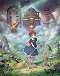 Ghibli Fanart Sen to Chihiro no kamikakushi Yubaba Kaonashi, Kiki, Jiji and Totoro ~. Studio Ghibli Art, Studio Ghibli Movies, Hayao Miyazaki, Cube Photo, Kiki Delivery, Howls Moving Castle, My Neighbor Totoro, Animation, Fan Art