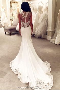 Lace Mermaid Wedding Dresses Sheer Back Buttons Lace Trim Elegant Bridal Gowns #weddingdress